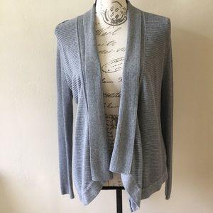 WHBM Gray Open Shawl Collar Cardigan Medium
